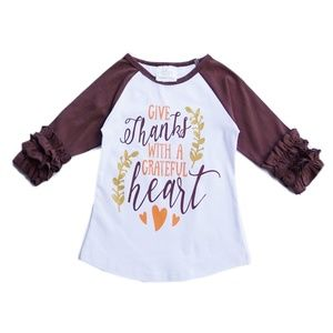 Other - NEW Thanksgiving FALL Boutique Ruffle Sleeve Shirt
